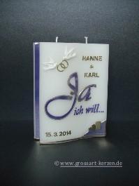 """Hochzeitskerze Welle""""Ja ich will"""""""