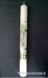 Kommunionkerze, Weinstock mit Kreuz grün