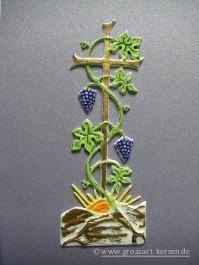 """Verzierwachs, Kommunion """"Kreuz mit Wein & Trauben lila"""""""